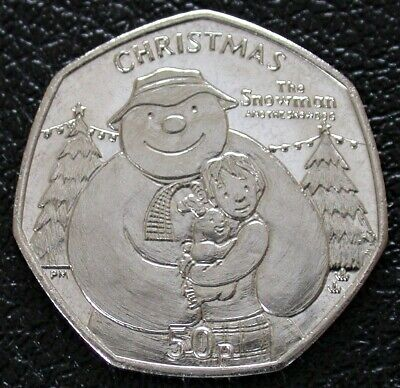 2014 ISLE OF MAN CHRISTMAS 50p Fifty Pence - The Snowman Snowdog and James BU