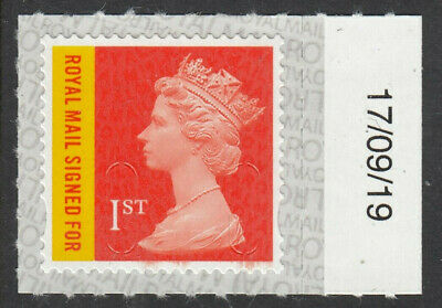 GB 2019 RECORDED 1st SIGNED FOR CODE M19L SBP2i DATED 17/09/19 on SELVEDGE MNH