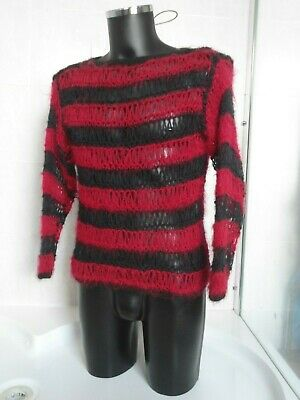 Nice Punk Hand Knit Black & Red Stripe Mohair Fluffy Loose Sweater Jumper Goth
