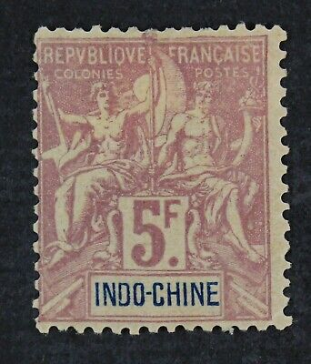 CKStamps: Indo-China Stamps Collection Scott#21 Mint H OG Spot Thin