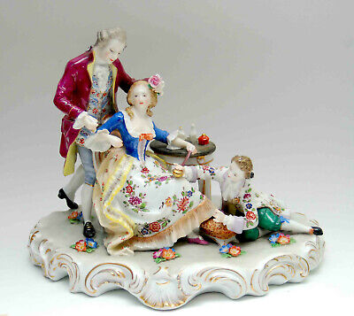 Large Antique German Dresden Porcelain Grouping Figural Hand Painted