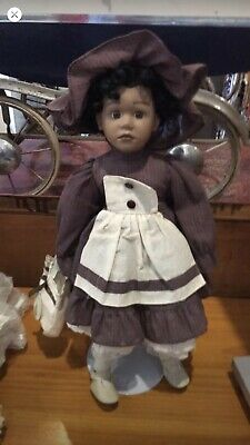 Vicky Collection Black Poreclain Doll With Tag