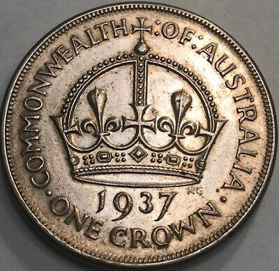 AUSTRALIA - George VI - One Crown 1937 - KM-34 - Extra Fine - Large Silver Coin