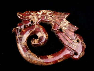 Old Nephrite Jade Stone Carved EXTRA LARGE Pendant Furious Dragon #11021908