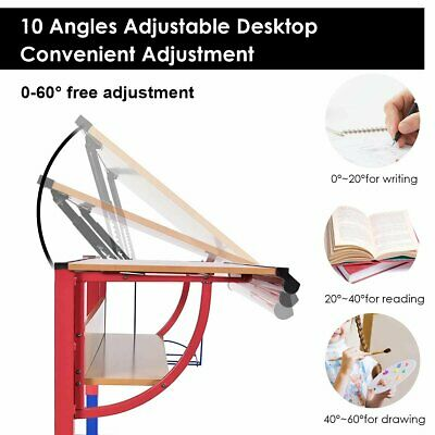 Adjustable Wooden Drafting Table Workstation Drawing Desk