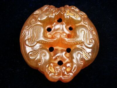 Old Nephrite Jade Hand Carved Pendant Sculpture Double FOO DOG LIONS #11111902