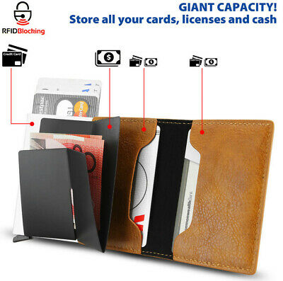 Leather Pop-up Purse Credit Card Holder Wallet RFID Blocking Metal Money Clip