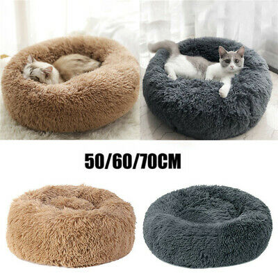 50-70CM Pet Calming Bed Round Nest Faux Fur Donut Cat Dog Beds Self Warming UK