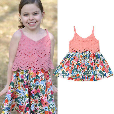 Newborn Kids Baby Girls Floral Casual Clothes Sleeveless Solid Party Lace Dress
