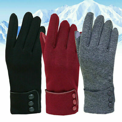 Winter Gloves Warm Thick Fleece Lined Thermal Button Touch Screen Women Ladies