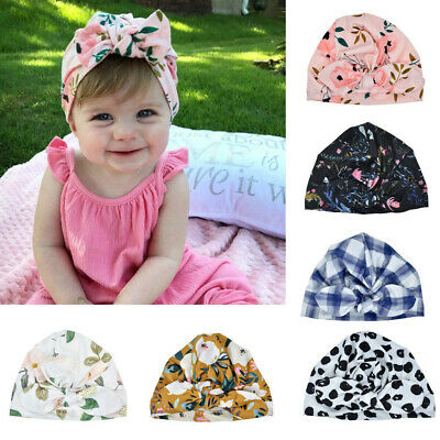UK Newborn Baby Infant Turban Hat Head Wrap Soft Cotton Headband Beanie Hat Cap