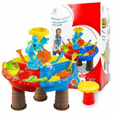 Sand & Water Table Kids Sand Pit Toy Beach Table Outdoor Garden Play Spade Tool
