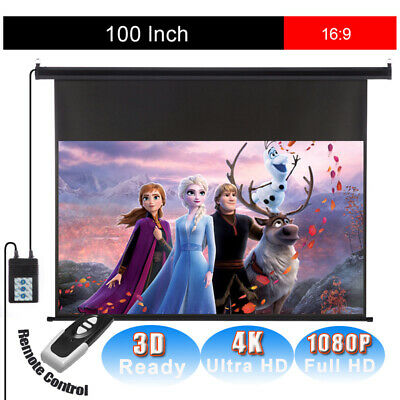 "100"" 16:9 HD Projector Screen Electric Motorized Projection 1080P Home Theatre"