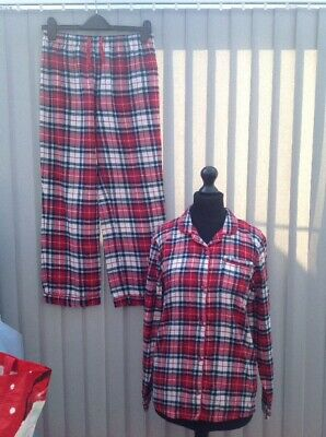 Girls Marks & Spencer Red Tartan Brushed Cotton Pjs Pyjamas Age 13-14 Button Up