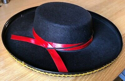 Felt Spanish Hat Adult Gaucho Mexican Zorro Pom Black Red Black One Size Fits Mo