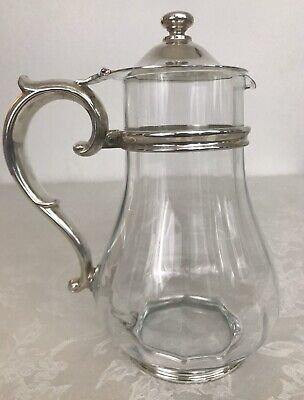 Vintage/Antique Glass And Silver Claret WineJug / Water Pitcher Lidded