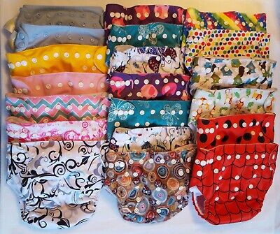 Lot of 20 Cloth Baby Diapers & 11 Inserts, Adjustable One Size Washable Reusable