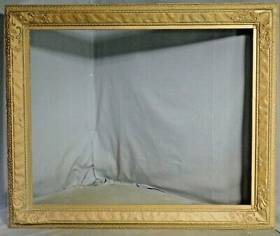 Antique Arts Crafts Closed Corner Custom Picture Frame Gilt Gesso Wood 22x27