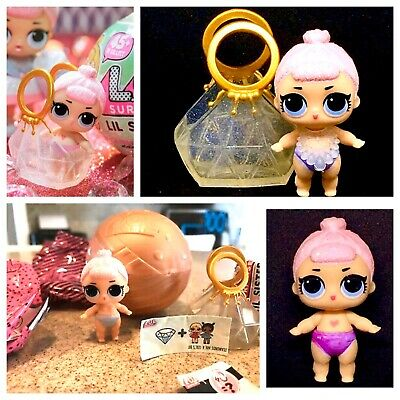 LOL Surprise Doll Lil Crystal Queen Series2 Gold Ball Lil Sis Complete Authentic