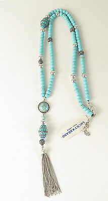 Lucky Brand Two Tone Semi-Precious Turquoise Beaded Tassel Y Necklace JLRY9378