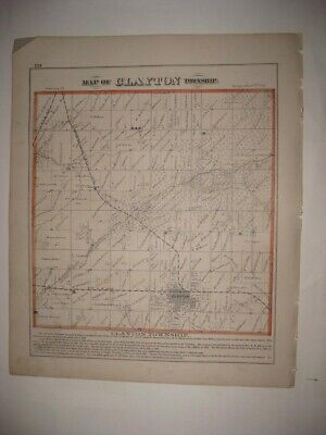 Antique 1872 Clayton Township Adams County Illinois Handcolored Map Rare Superb