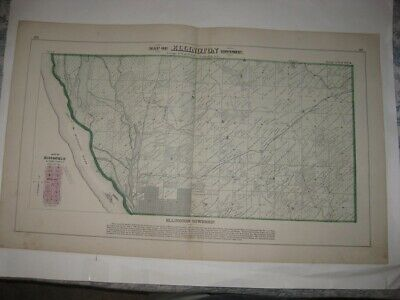 Antique 1872 Ellington Township Quincy Adams County Illinois Handcolored Map Nr