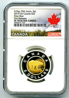 2019 Canada $2 Gilt Silver Proof Polar Bear Toonie Ngc Pf70 Ucam First Releases