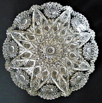 "Antique AMERICAN BRILLIANT PERIOD 9"" HOBSTAR DIAMOND Cut Glass PATTERN BOWL ABP"