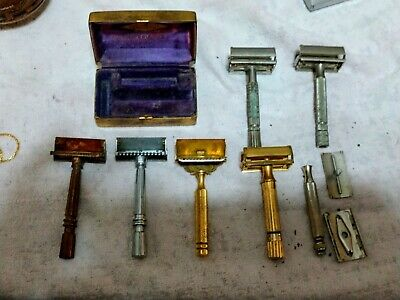 Vintage Safety Razor Lot of Seven 3 Gem 4 Gillette & Aristocrat Gold Box