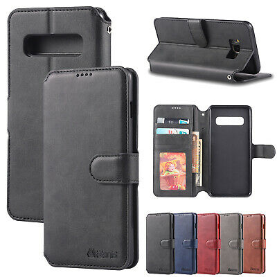 For Samsung Galaxy S10 Plus S8 S9 Leather Wallet Case Card Slot Stand Flip Cover