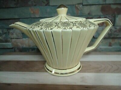Sadler Teapot1920'S-Yellow-Gold Gilt-England-Very Rare