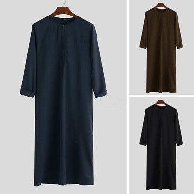 Mens Jubba Kaftan Dishdash Thobe Arab Robe Islamic Clothing Saudi Costume Robe