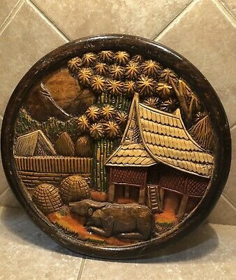 Antique Thailand Hand Carved Wood Wall Decor Plaque Water Buffalo Tropical