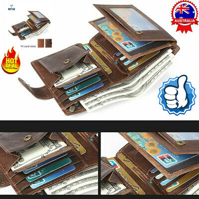 Mens RFID Blocking Genuine Leather Mens Wallet Trifold Purse Coin Card Large ID