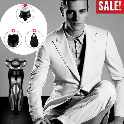 Men Electric Shaver 3D Triple Floating Head Rotary Rechargeable Trimmer Razor