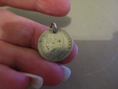 Antique Solid Silver 1860 Napoleon Iii Emperor 20C French Empire Fob Coin Charm