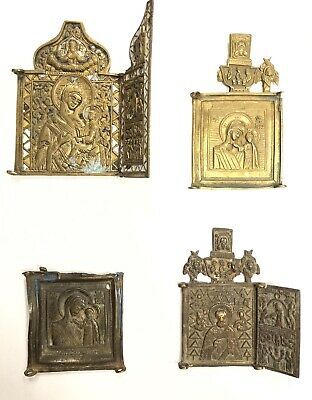 Russian Brass Antique Icons 18th-19th Century