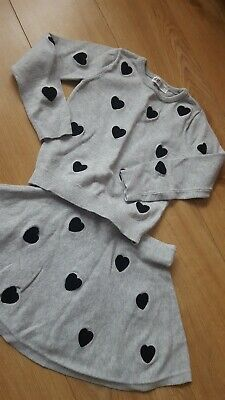H&M Girls Grey Heart Skirt And Top Outfit Age 4 -6 Yrs