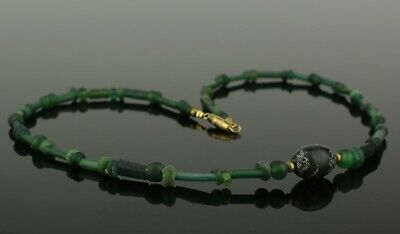 BEAUTIFUL ANCIENT ROMAN GREEN GLASS BEAD NECKLACE   2nd Century AD   (011)
