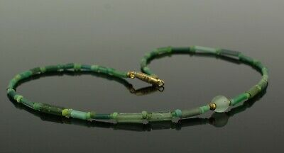 BEAUTIFUL ANCIENT ROMAN GREEN GLASS BEAD NECKLACE   2nd Century AD   (014)