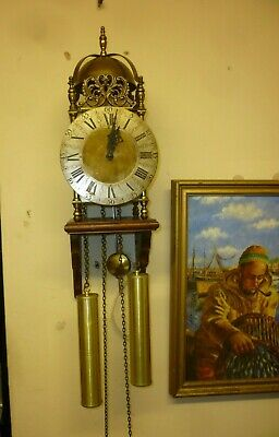 Large Vintage Weight Driven Brass Lantern Clock By Hermle