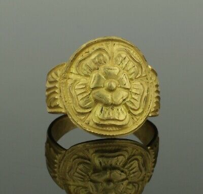 Beautiful Ancient Medieval Heraldic Gold Ring Tudor Rose - Circa 15Th Century Ad