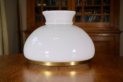 Large Edwardian opal glass shade with carrier for hanging / table oil lamp