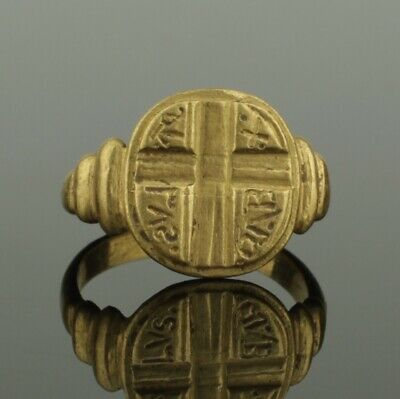 ANCIENT ROMAN GOLD CROSS RING WITH INSCRIPTION - 2nd Century AD
