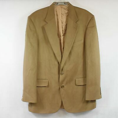 Lands' End Mens 44L Brown Tan Suede Polyester Suit Single Breasted Jacket Used