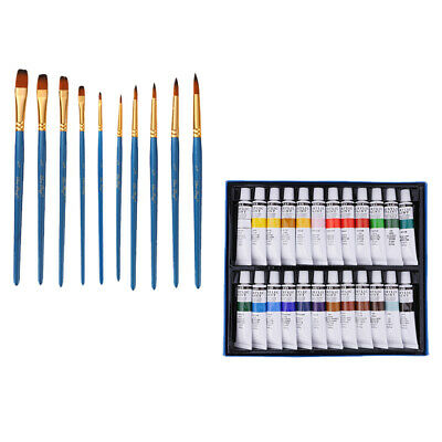 Art Drawing Painting Set Artist Kit 10x Brushes &24 Color Tube Acrylic Paint