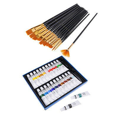 Art Drawing Painting Set Artist Kit 12x Brushes+24 Colors Tube Acrylic Paint