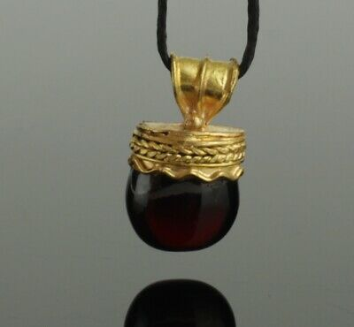 ANCIENT ETRUSCAN GREEK GOLD & GARNET PENDANT - 4th/5th Century BC