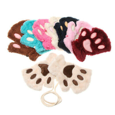 Fashion Winter Warm Warm Plush Cat Paw Fingerless Children Gloves Mittens