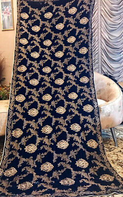 Pakistani Indian Velvet Shawl Embroidered Bollywood Zari Dupatta 3 Colors